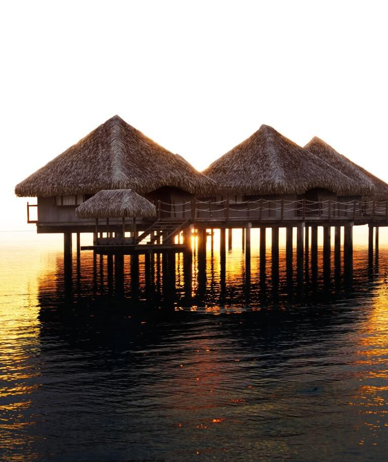 Tahiti Accommodation Over Water Bungalows: Le Meridien Bora Bora Resort